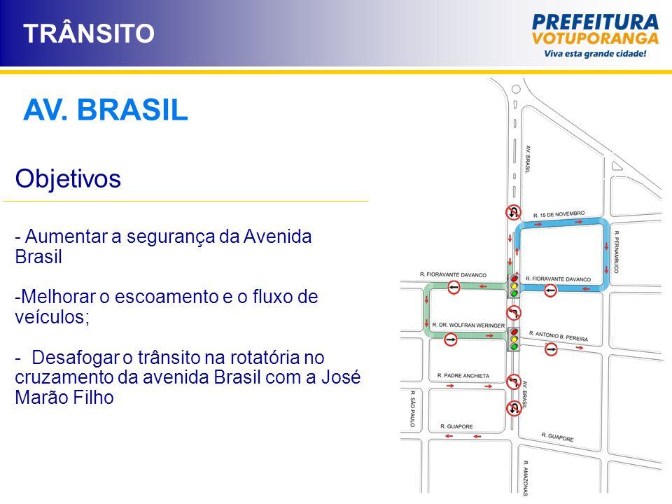 TRÂNSITO AV. BRASIL - Aumentar a segurança da Avenida Brasil -Melhorar o escoamento e o fluxo de veículos; - Desafogar o trânsito na rotatória no cruz