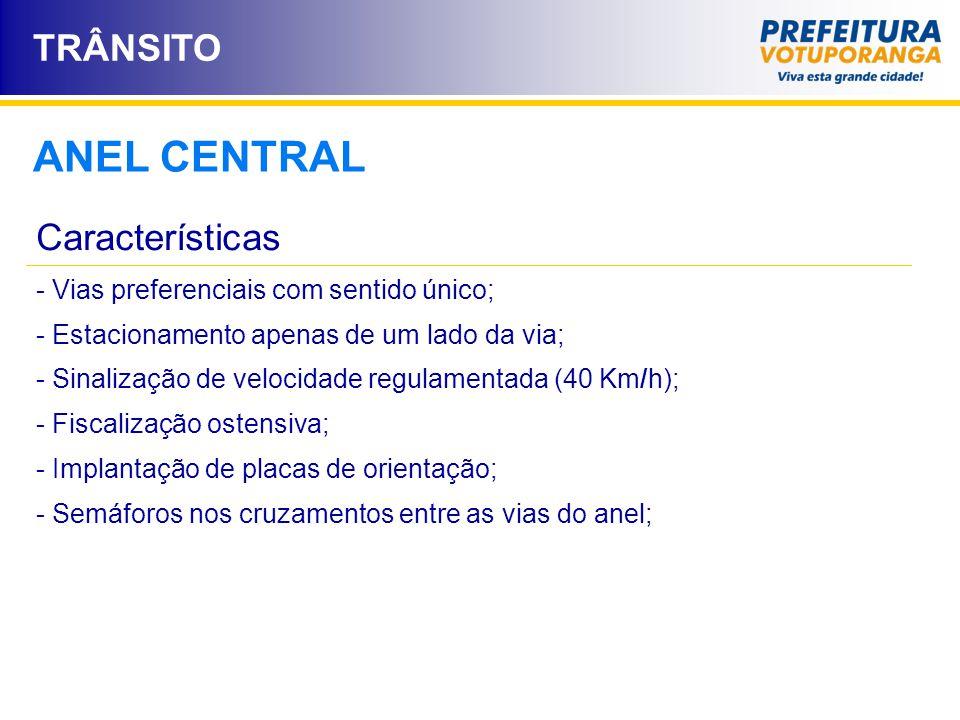 ANEL CENTRAL Características - Vias preferenciais com sentido único; - Estacionamento apenas de um lado da via; - Sinalização de velocidade regulament