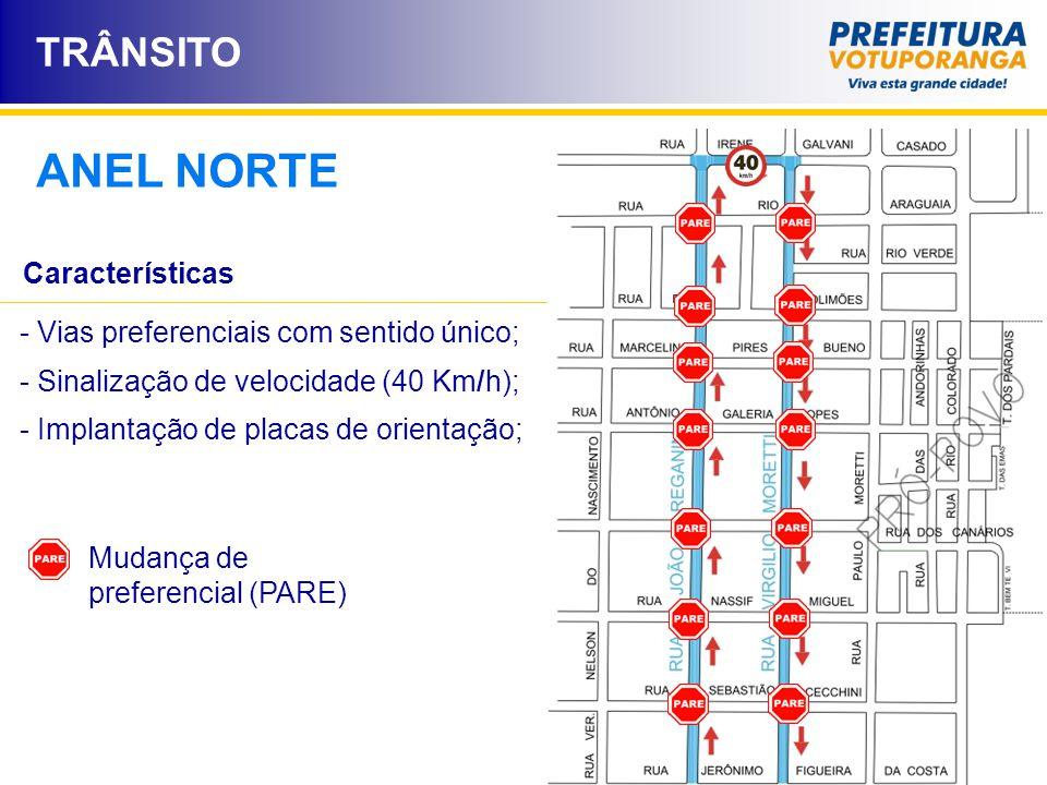 TRÂNSITO ANEL NORTE Mudança de preferencial (PARE) Características - Vias preferenciais com sentido único; - Sinalização de velocidade (40 Km/h); - Im