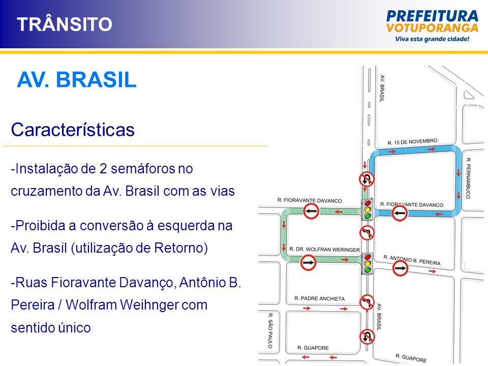TRÂNSITO AV. BRASIL Características -Instalação de 2 semáforos no cruzamento da Av. Brasil com as vias -Proibida a conversão à esquerda na Av. Brasil
