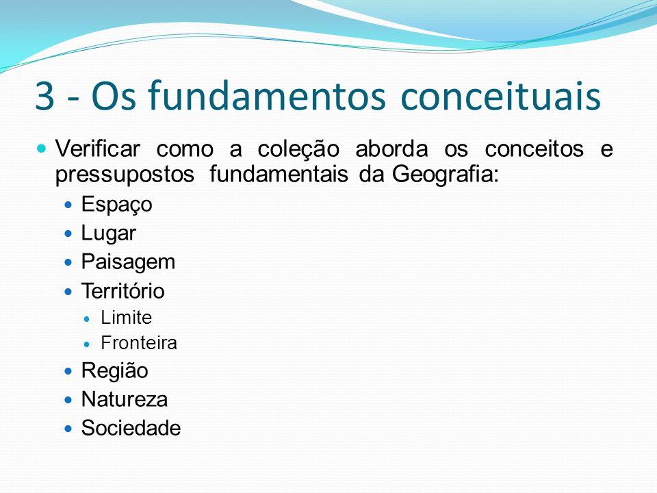 3 - Os fundamentos conceituais  Verificar como a coleção aborda os conceitos e pressupostos fundamentais da Geografia:  Espaço  Lugar  Paisagem  Território  Limite  Fronteira  Região  Natureza  Sociedade