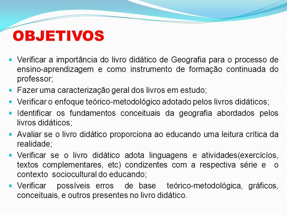 OBJETIVOS  Verificar a importância do livro didático de Geografia para o processo de ensino-aprendizagem e como instrumento de formação continuada do