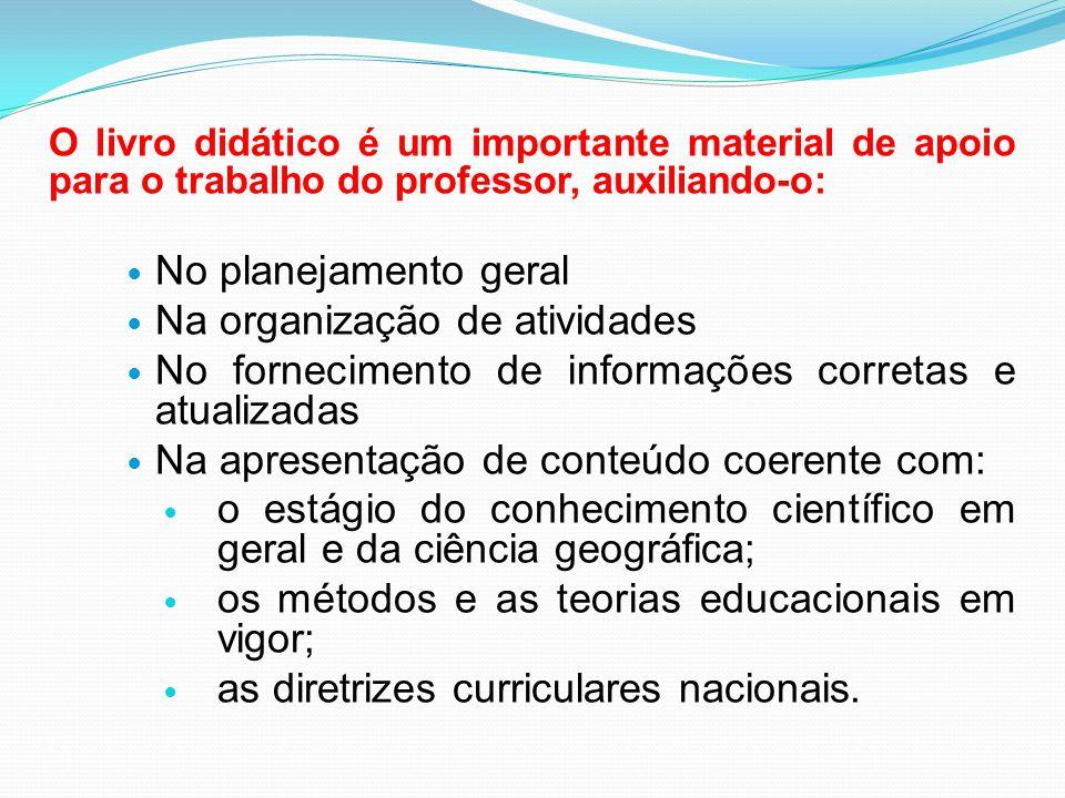 O livro didático é um importante material de apoio para o trabalho do professor, auxiliando-o:  No planejamento geral  Na organização de atividades