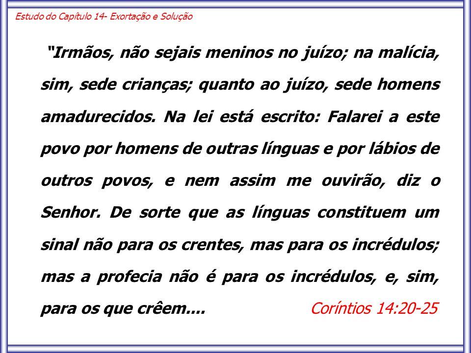 Irmãos, não sejais meninos no juízo; na malícia, sim, sede crianças; quanto ao juízo, sede homens amadurecidos.