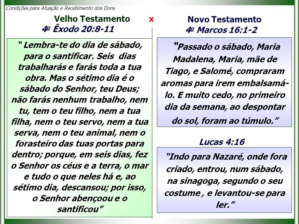 Condições para Atuação e Recebimento dos Dons Velho Testamento x Novo Testamento Passado o sábado, Maria Madalena, Maria, mãe de Tiago, e Salomé, compraram aromas para irem embalsamá- lo.