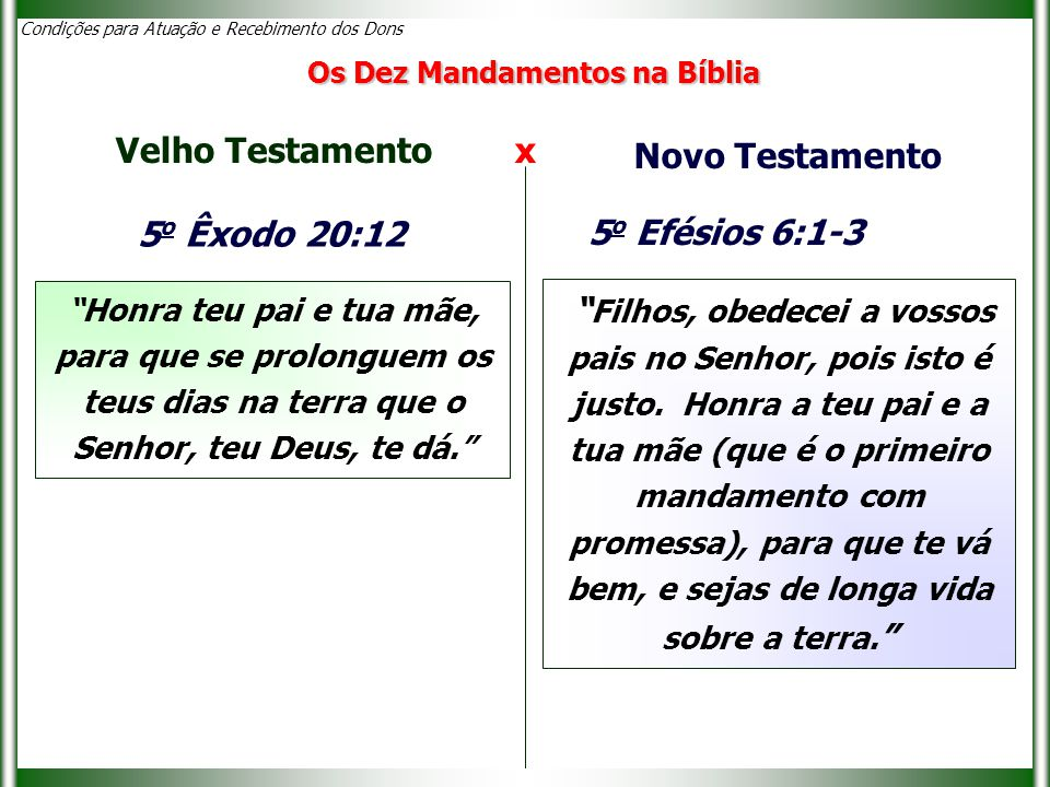 """Condições para Atuação e Recebimento dos Dons 5 o Êxodo 20:12 """"Honra teu pai e tua mãe, para que se prolonguem os teus dias na terra que o Senhor, teu"""