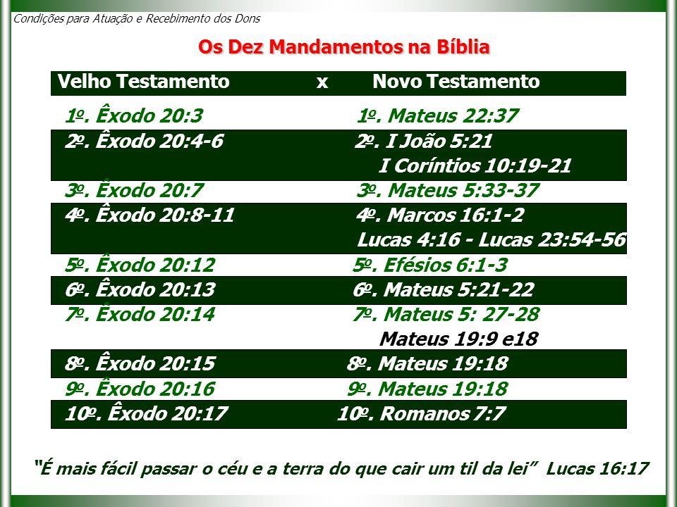 1 o. Êxodo 20:3 1 o. Mateus 22:37 2 o. Êxodo 20:4-6 2 o. I João 5:21 I Coríntios 10:19-21 3 o. Êxodo 20:7 3 o. Mateus 5:33-37 4 o. Êxodo 20:8-11 4 o.