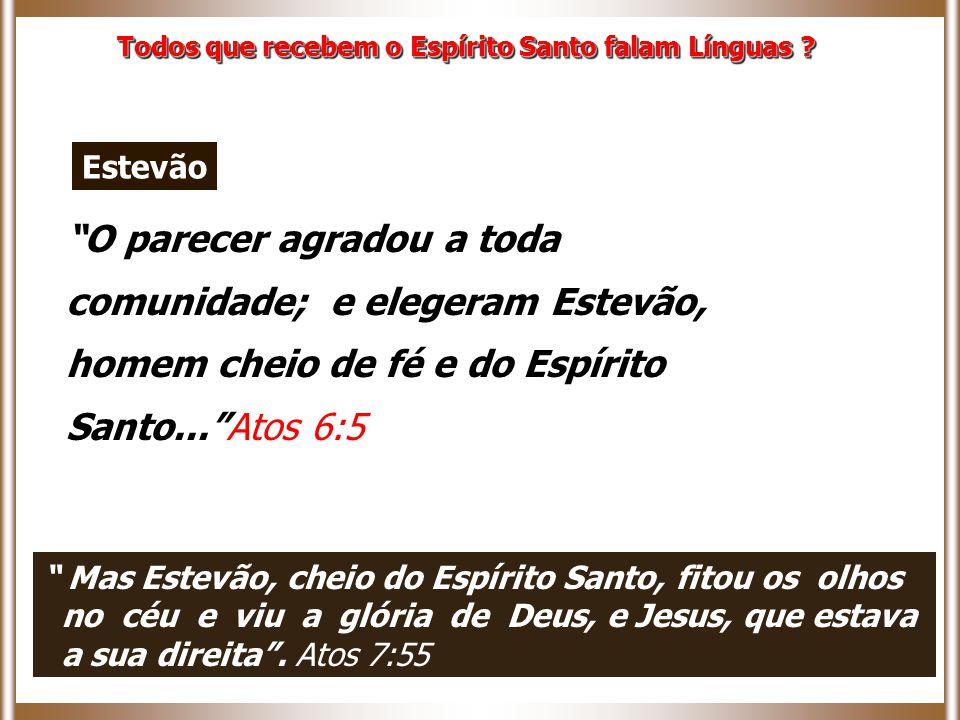 O parecer agradou a toda comunidade; e elegeram Estevão, homem cheio de fé e do Espírito Santo... Atos 6:5 Todos que recebem o Espírito Santo falam Línguas .