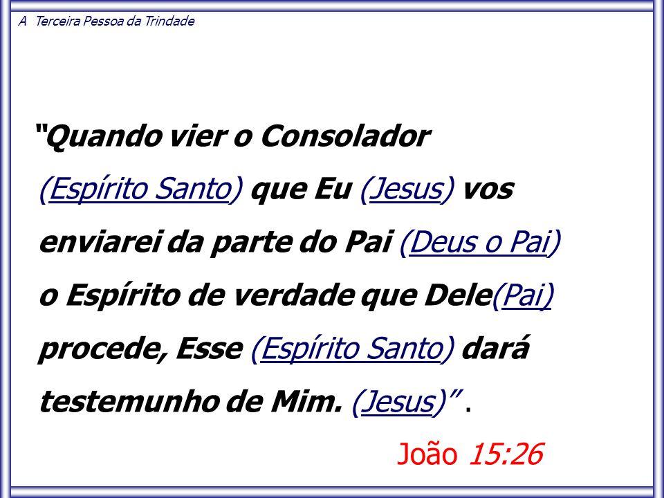 Quando vier o Consolador (Espírito Santo) que Eu (Jesus) vos enviarei da parte do Pai (Deus o Pai) o Espírito de verdade que Dele(Pai) procede, Esse (Espírito Santo) dará testemunho de Mim.