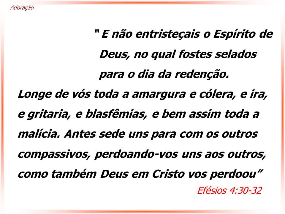 E não entristeçais o Espírito de Deus, no qual fostes selados para o dia da redenção.