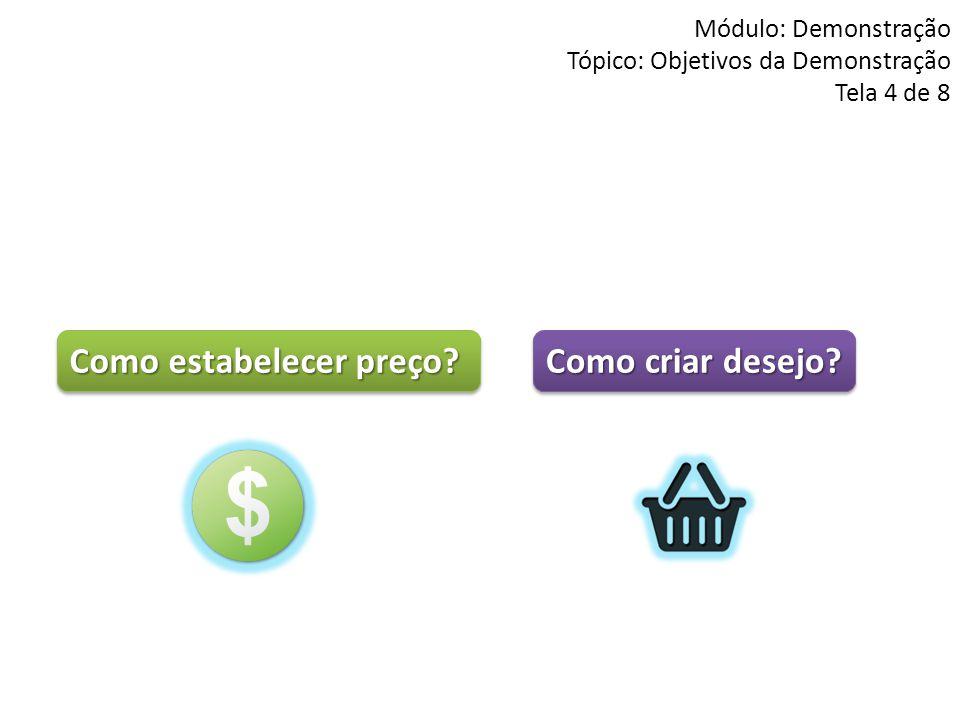 Módulo: Demonstração Tópico: Objetivos da Demonstração Tela 4 de 8 Como criar desejo? Como estabelecer preço?