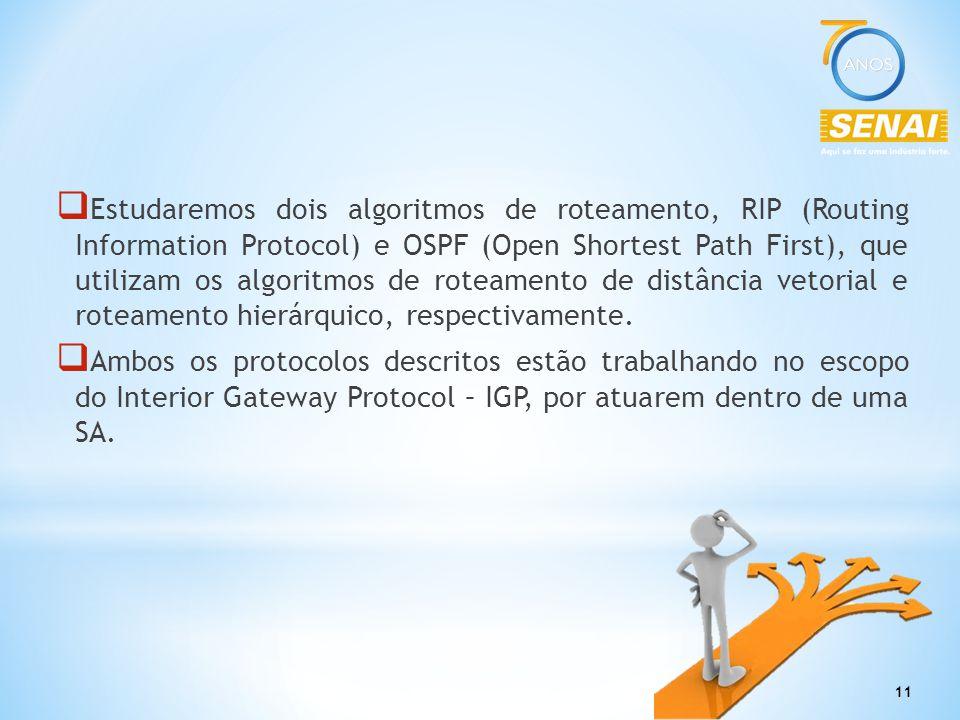 11  Estudaremos dois algoritmos de roteamento, RIP (Routing Information Protocol) e OSPF (Open Shortest Path First), que utilizam os algoritmos de ro