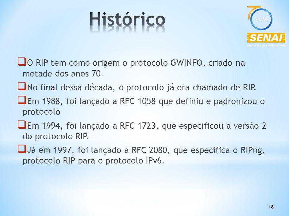 18  O RIP tem como origem o protocolo GWINFO, criado na metade dos anos 70.  No final dessa década, o protocolo já era chamado de RIP.  Em 1988, fo