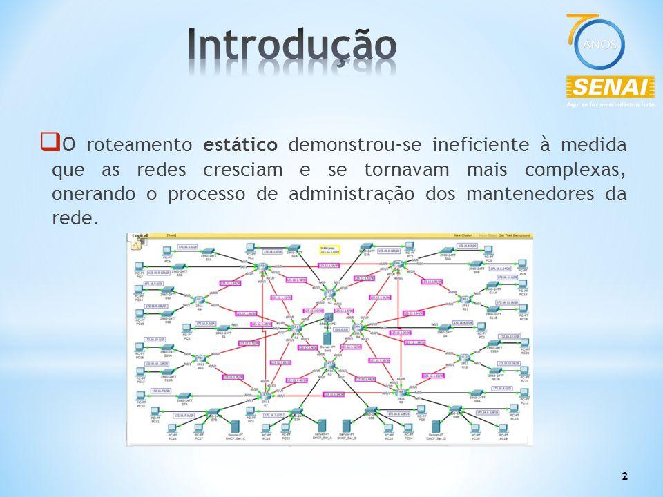 2  O roteamento estático demonstrou-se ineficiente à medida que as redes cresciam e se tornavam mais complexas, onerando o processo de administração