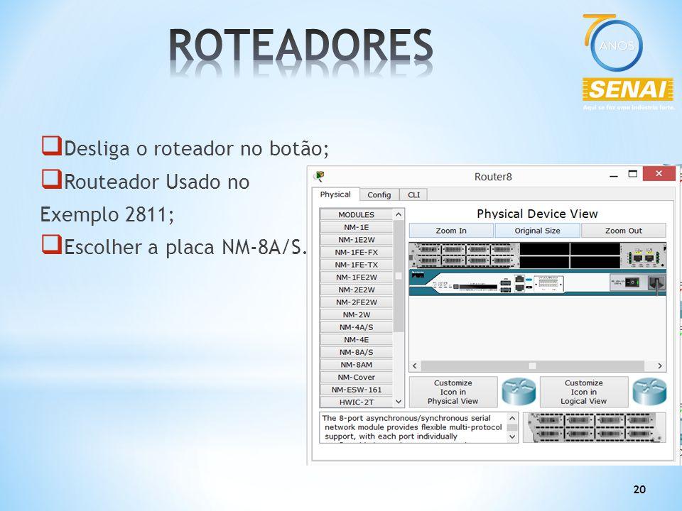 20  Desliga o roteador no botão;  Routeador Usado no Exemplo 2811;  Escolher a placa NM-8A/S.