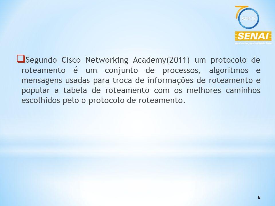 5  Segundo Cisco Networking Academy(2011) um protocolo de roteamento é um conjunto de processos, algoritmos e mensagens usadas para troca de informaç