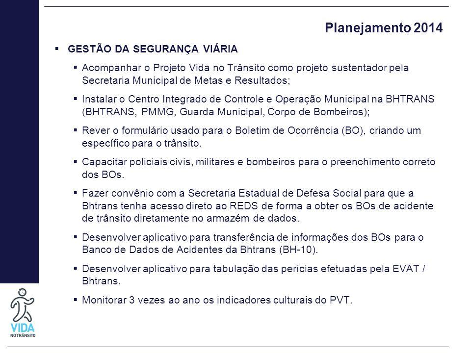 Planejamento 2014  GESTÃO DA SEGURANÇA VIÁRIA  Acompanhar o Projeto Vida no Trânsito como projeto sustentador pela Secretaria Municipal de Metas e R