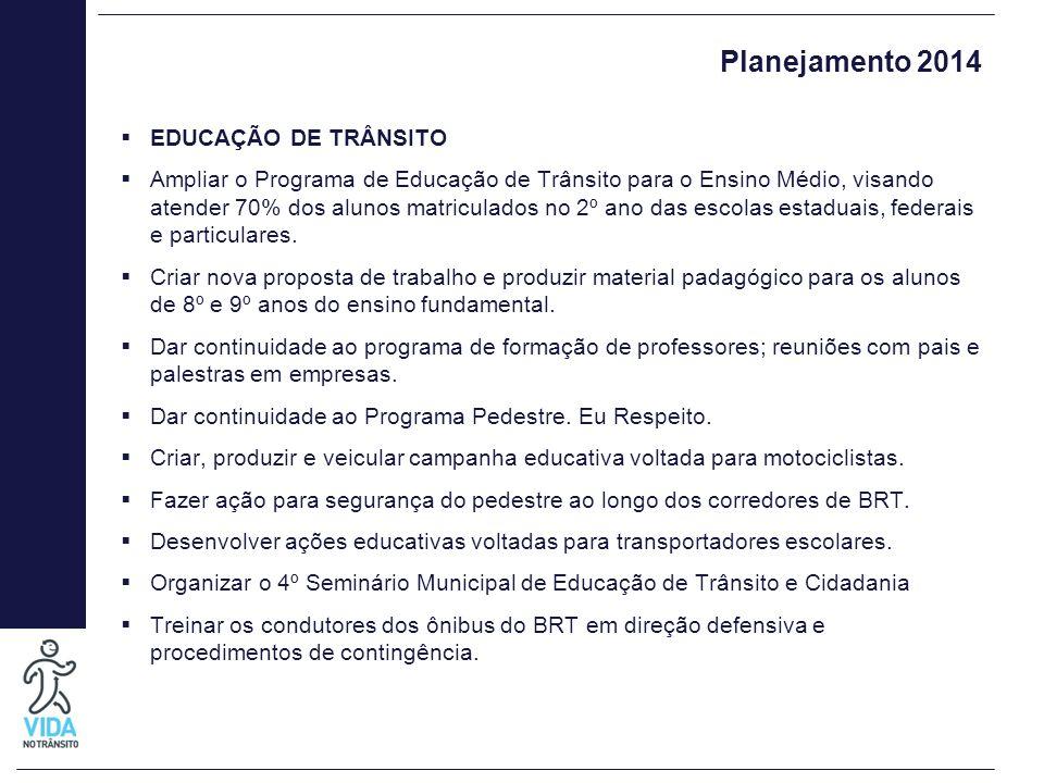 Planejamento 2014  EDUCAÇÃO DE TRÂNSITO  Ampliar o Programa de Educação de Trânsito para o Ensino Médio, visando atender 70% dos alunos matriculados