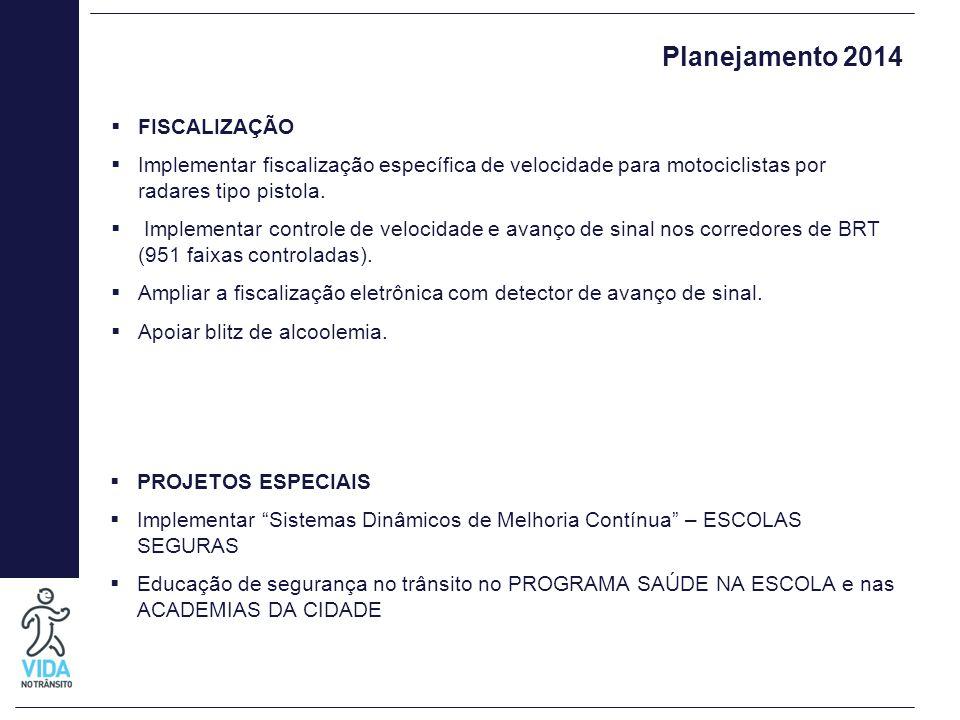 Planejamento 2014  FISCALIZAÇÃO  Implementar fiscalização específica de velocidade para motociclistas por radares tipo pistola.  Implementar contro