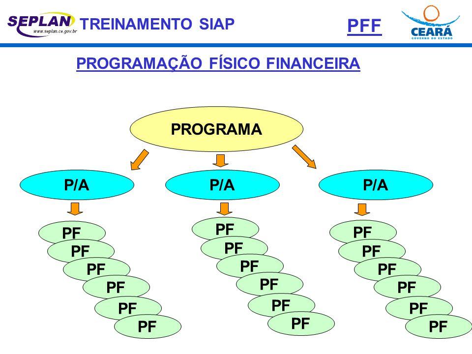TREINAMENTO SIAP PROGRAMA P/A PF PROGRAMAÇÃO FÍSICO FINANCEIRA PFF