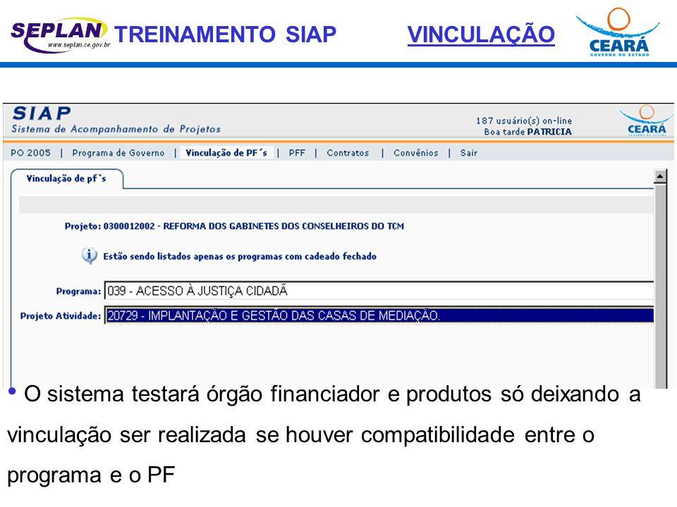 VINCULAÇÃO • O sistema testará órgão financiador e produtos só deixando a vinculação ser realizada se houver compatibilidade entre o programa e o PF