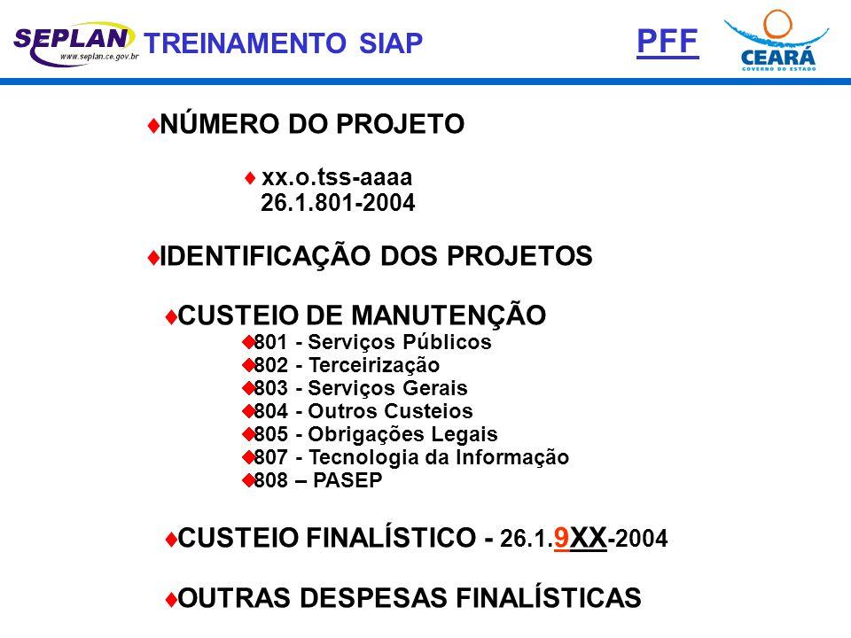 TREINAMENTO SIAP  NÚMERO DO PROJETO  xx.o.tss-aaaa 26.1.801-2004  IDENTIFICAÇÃO DOS PROJETOS  CUSTEIO DE MANUTENÇÃO  801 - Serviços Públicos  80