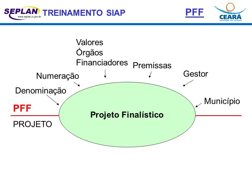 TREINAMENTO SIAP Projeto Finalístico PFF PROJETO Denominação Numeração Premissas Gestor Município Valores Órgãos Financiadores PFF