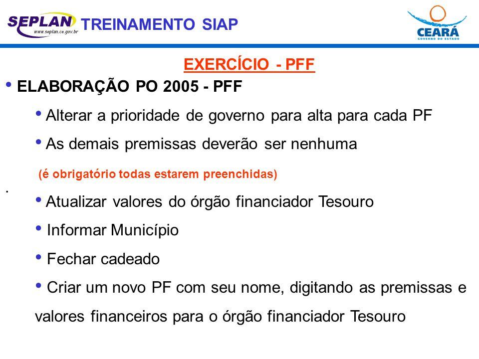 TREINAMENTO SIAP. • ELABORAÇÃO PO 2005 - PFF • Alterar a prioridade de governo para alta para cada PF • As demais premissas deverão ser nenhuma (é obr