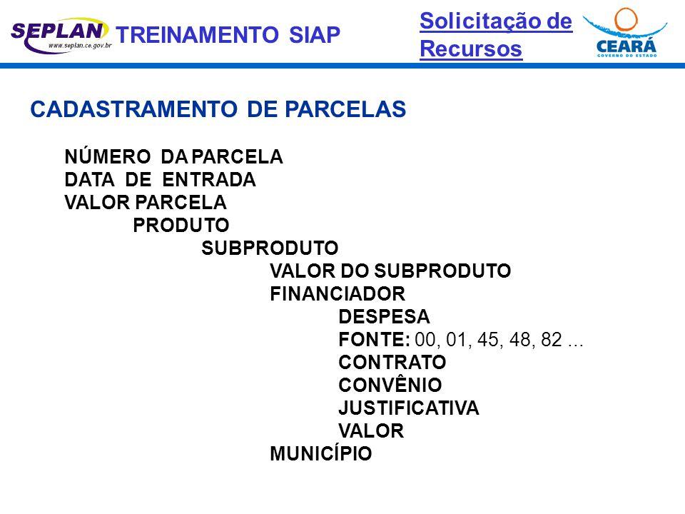 TREINAMENTO SIAP CADASTRAMENTO DE PARCELAS NÚMERO DA PARCELA DATA DE ENTRADA VALOR PARCELA PRODUTO SUBPRODUTO VALOR DO SUBPRODUTO FINANCIADOR DESPESA