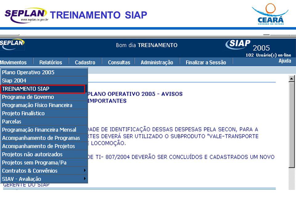 TREINAMENTO SIAP PF VINCULAÇÃO DE PROGRAMAS e PROJETOS VINCULAÇÃO PROGRAMA P/A PROGRAMA P/A