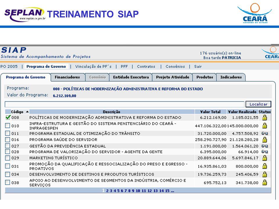 TREINAMENTO SIAP DOIS NÍVEIS: PROJETOS FINALÍSTICOS PROGRAMAS DE GOVERNO.