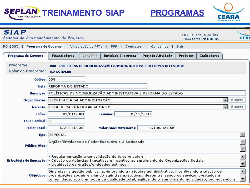 TREINAMENTO SIAP Denominação - Título do Projeto Finalístico.