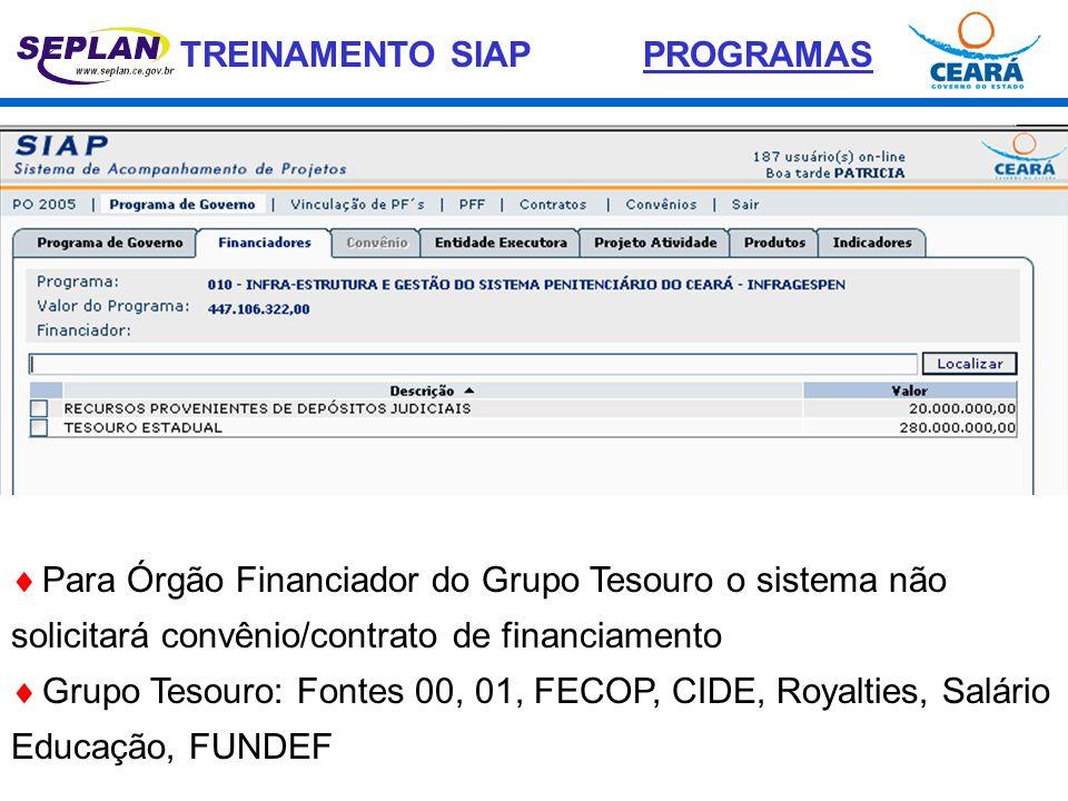 TREINAMENTO SIAP  Para Órgão Financiador do Grupo Tesouro o sistema não solicitará convênio/contrato de financiamento  Grupo Tesouro: Fontes 00, 01,