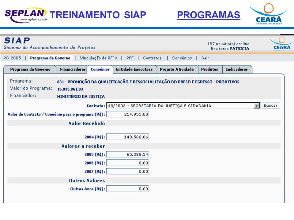 TREINAMENTO SIAP ACOMPANHAMENTO DE PROJETOS FINALÍSTICOS