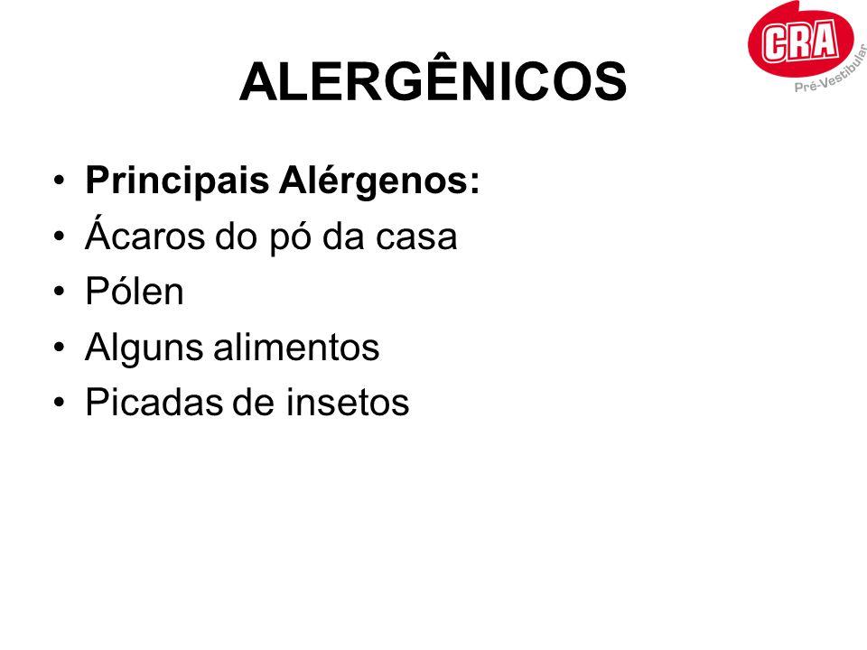 ALERGÊNICOS •Principais Alérgenos: •Ácaros do pó da casa •Pólen •Alguns alimentos •Picadas de insetos
