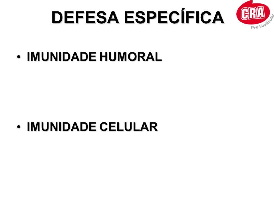 •IMUNIDADE HUMORAL •IMUNIDADE CELULAR DEFESA ESPECÍFICA
