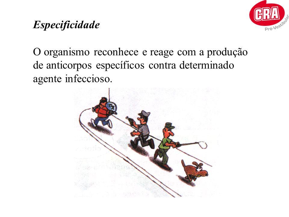 Especificidade O organismo reconhece e reage com a produção de anticorpos específicos contra determinado agente infeccioso.