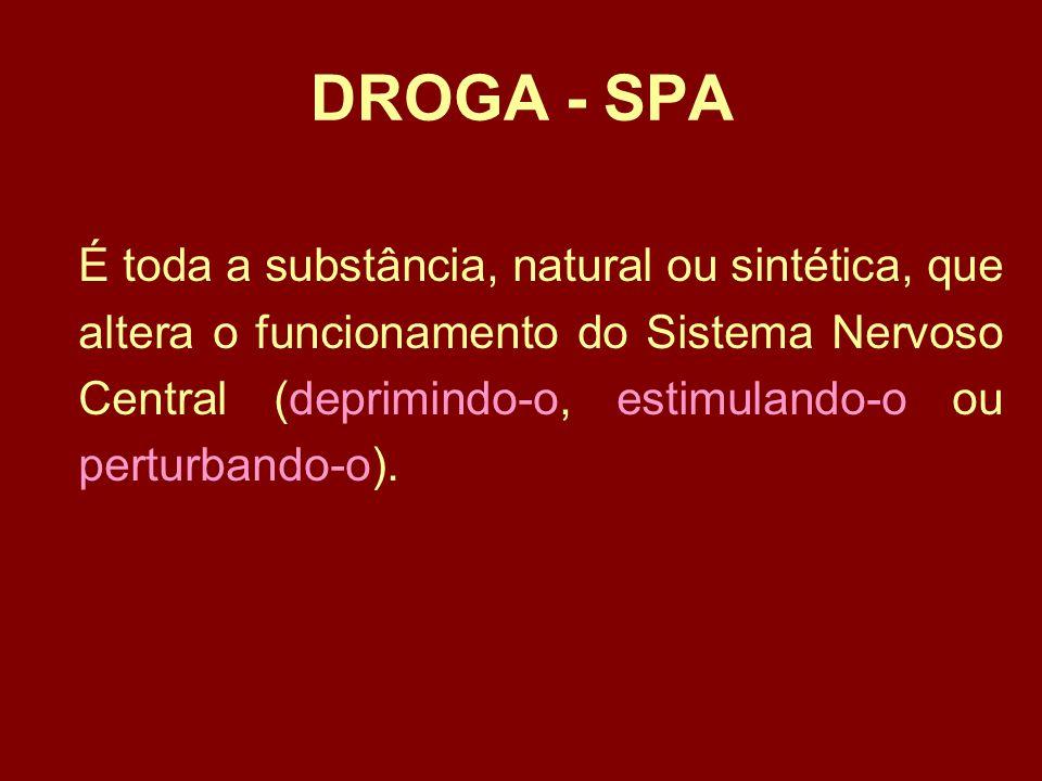 CLASSIFICAÇÃO •Drogas ilícitas - Toda e qualquer substância psicoativa proibida por lei.