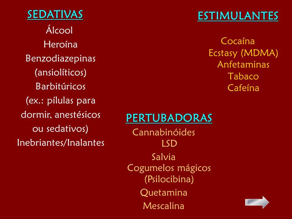 ESTIMULANTES Cocaína Ecstasy (MDMA) Anfetaminas Tabaco Cafeína SEDATIVAS Álcool Heroína Benzodiazepinas (ansiolíticos) Barbitúricos (ex.: pílulas para dormir, anestésicos ou sedativos) Inebriantes/Inalantes PERTUBADORAS Cannabinóides LSD Salvia Cogumelos mágicos (Psilocibina) Quetamina Mescalina