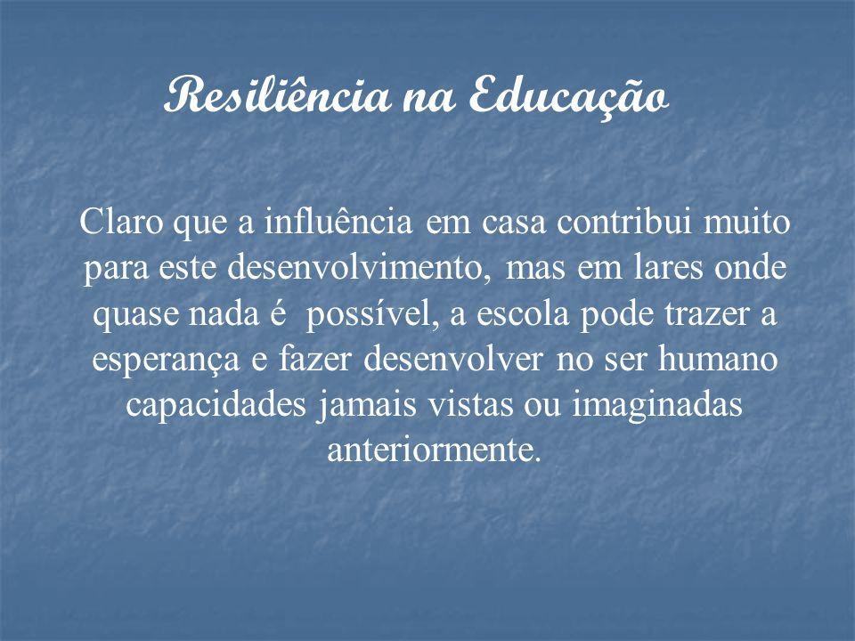 Resiliência na Educação A resiliência na educação parte do princípio de que alunos, professores, pais, instituição e sociedade, compreendam o signific