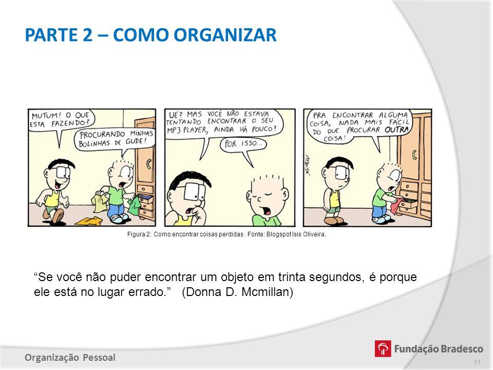 """Organização Pessoal """"Se você não puder encontrar um objeto em trinta segundos, é porque ele está no lugar errado."""" (Donna D. Mcmillan) Figura 2: Como"""
