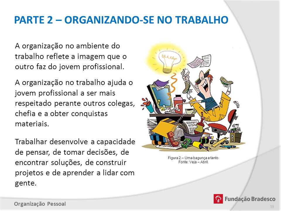Organização Pessoal PARTE 2 – ORGANIZANDO-SE NO TRABALHO 19 Trabalhar desenvolve a capacidade de pensar, de tomar decisões, de encontrar soluções, de
