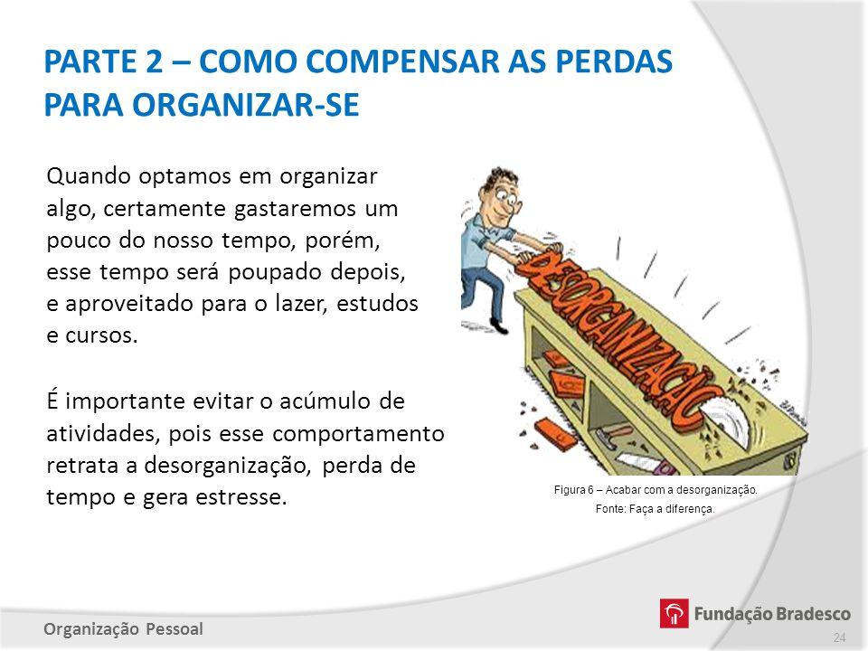 Organização Pessoal PARTE 2 – COMO COMPENSAR AS PERDAS PARA ORGANIZAR-SE 24 Figura 6 – Acabar com a desorganização. Fonte: Faça a diferença. É importa