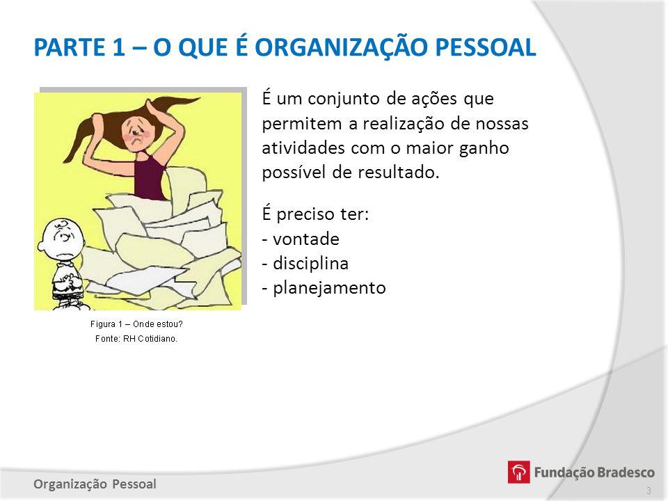 Organização Pessoal PARTE 1 – O QUE É ORGANIZAÇÃO PESSOAL É um conjunto de ações que permitem a realização de nossas atividades com o maior ganho poss