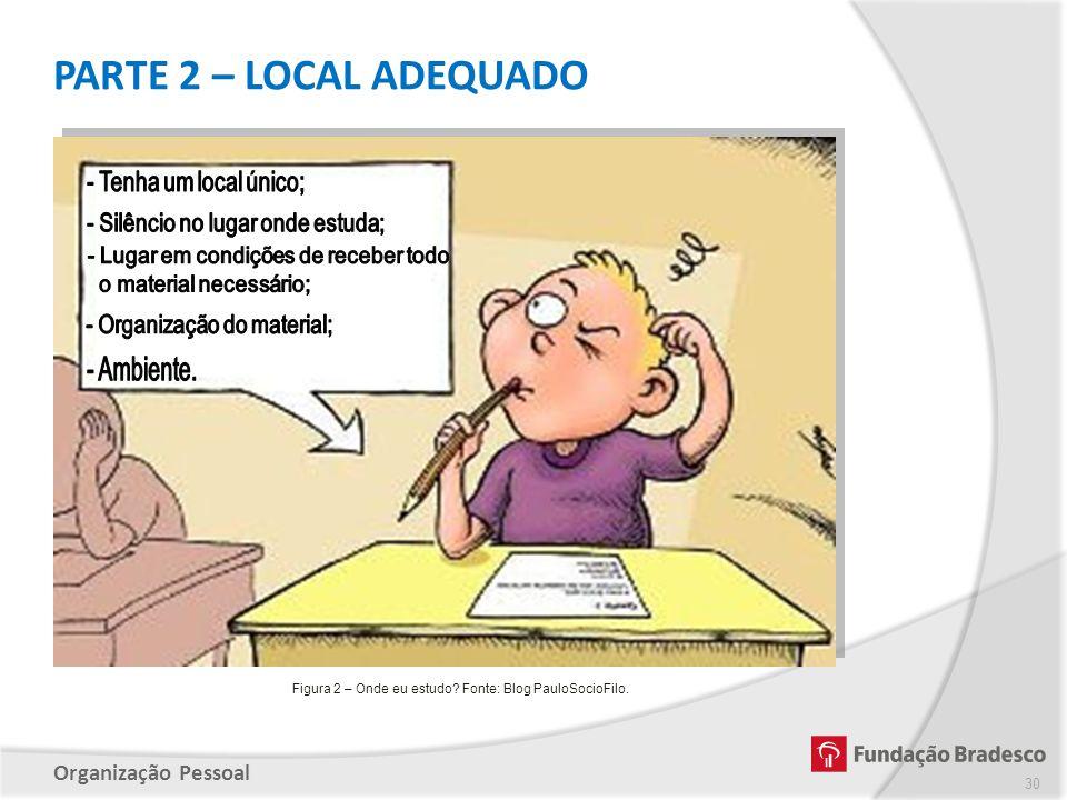 Organização Pessoal PARTE 2 – LOCAL ADEQUADO 30 Figura 2 – Onde eu estudo? Fonte: Blog PauloSocioFilo.