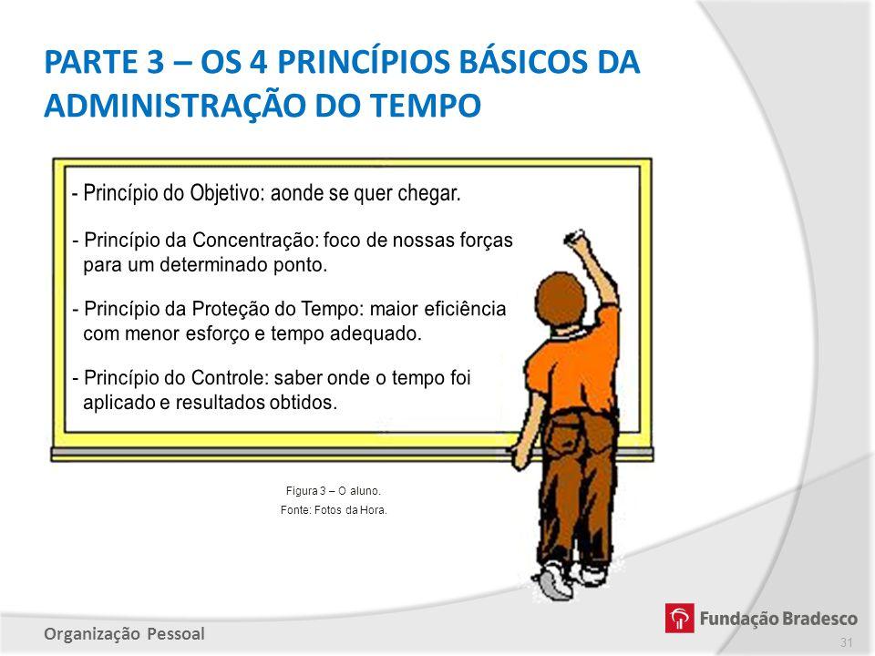 Organização Pessoal PARTE 3 – OS 4 PRINCÍPIOS BÁSICOS DA ADMINISTRAÇÃO DO TEMPO 31 Figura 3 – O aluno. Fonte: Fotos da Hora.
