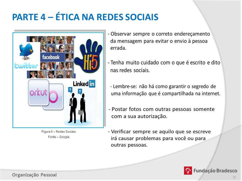 Organização Pessoal PARTE 4 – ÉTICA NA REDES SOCIAIS 38 Figura 5 – Redes Sociais. Fonte – Google.