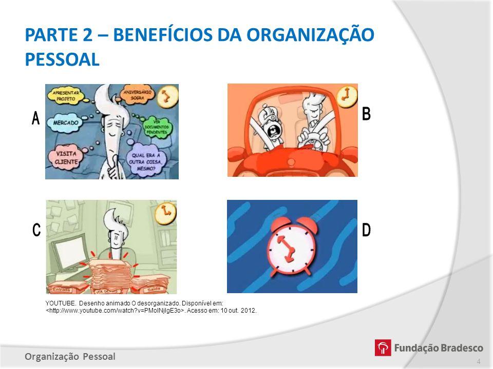 Organização Pessoal YOUTUBE. Desenho animado O desorganizado. Disponível em:. Acesso em: 10 out. 2012. PARTE 2 – BENEFÍCIOS DA ORGANIZAÇÃO PESSOAL 4