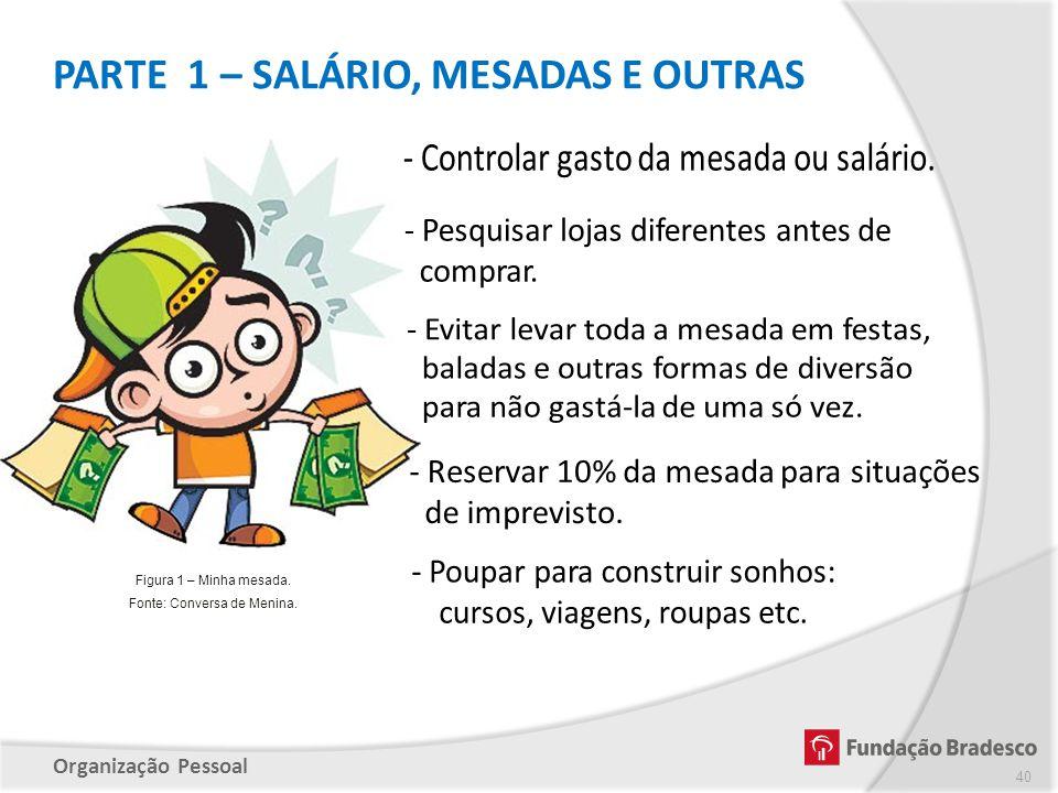 Organização Pessoal PARTE 1 – SALÁRIO, MESADAS E OUTRAS 40 Figura 1 – Minha mesada. Fonte: Conversa de Menina.