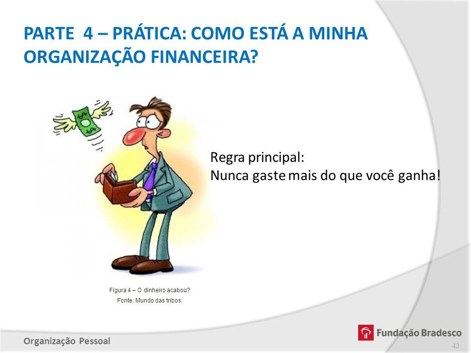Organização Pessoal PARTE 4 – PRÁTICA: COMO ESTÁ A MINHA ORGANIZAÇÃO FINANCEIRA? 43 Figura 4 – O dinheiro acabou? Fonte: Mundo das tribos.